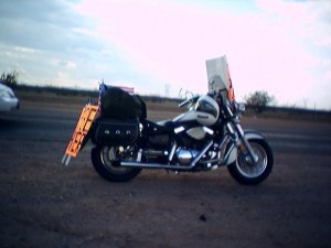 2003: Our first motorcycle and our first Free Prayer signs