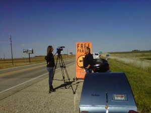 Being interviewed on the roadside by KCAU-TV out of Sioux City.